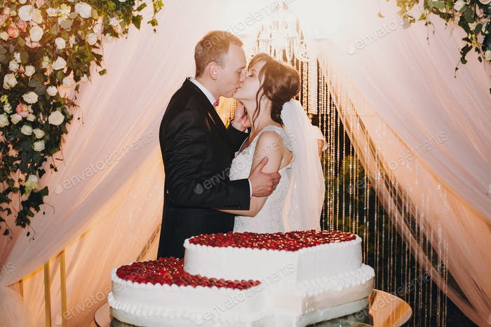 Gorgeous bride and stylish groom kissing at delicious wedding cake