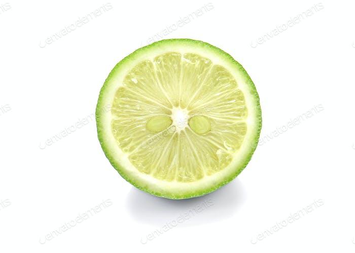 Green Lemons , Lemons cut pieces on white background.