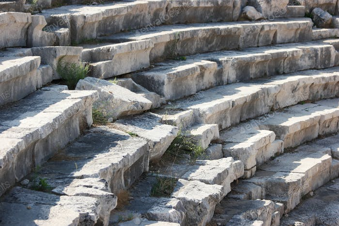 A close up view of an ancient amphitheater in Hierapolis, Turkey.