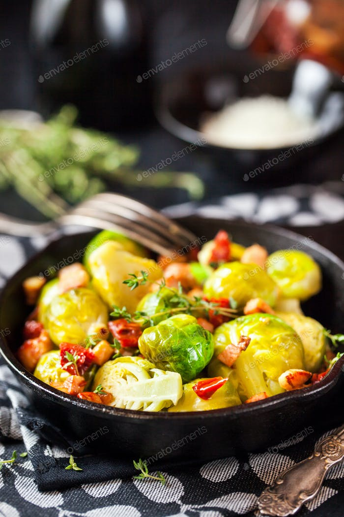 Roasted brussels sprouts with bacon and sun dried tomato