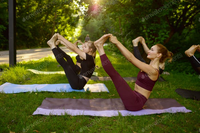 Attractive women doing exercise, group yoga