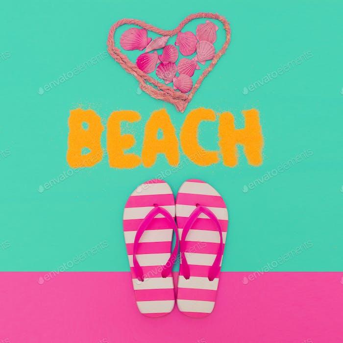Beach Love Summer time. Flip-flops minimal art