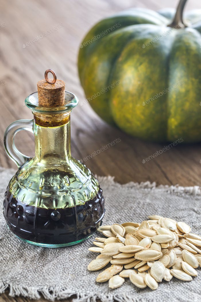 Bottle with pumpkin oil