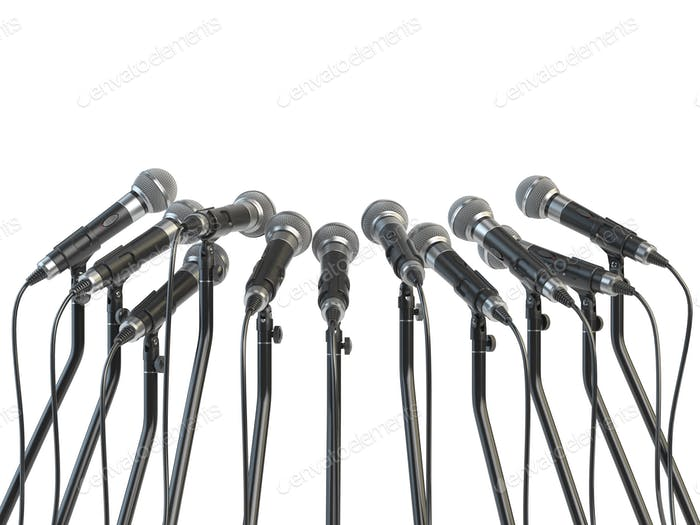 Microphones prepared for press conference or interview isolated