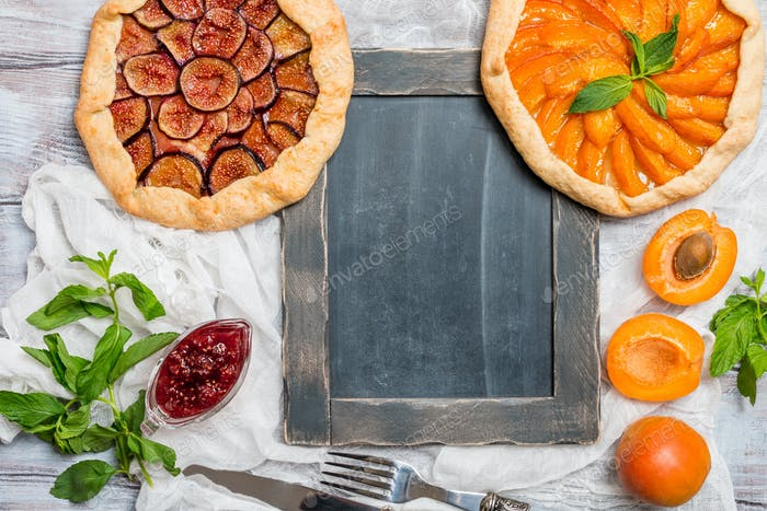 Homemade apricot and figs galette