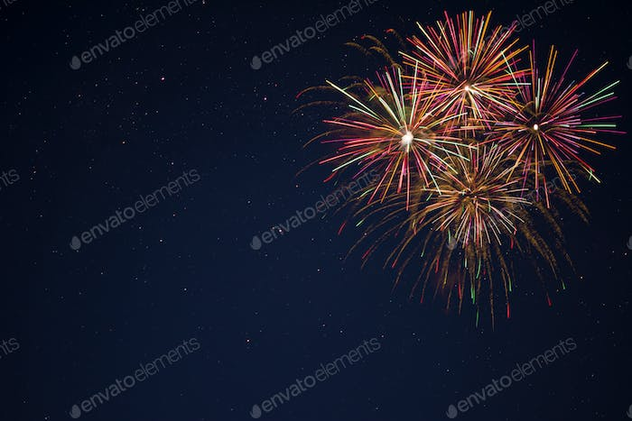 Golden red green fireworks over night sky