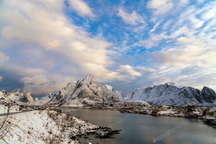 Landscape of Traditional Norwegian fisherman's cabins, rorbuer, on the Reine village