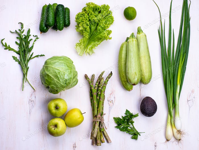 Various green vegetables and fruits