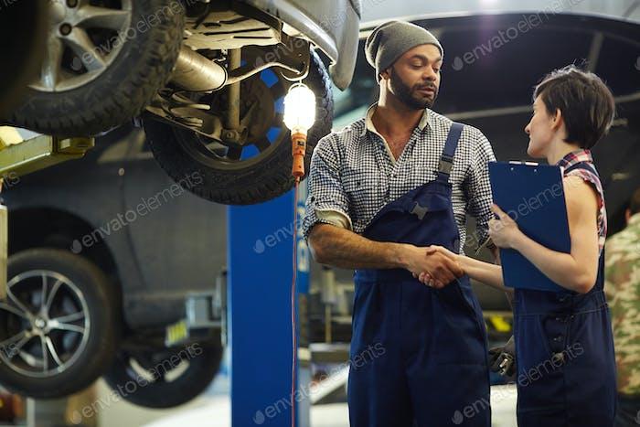 Staff of car service