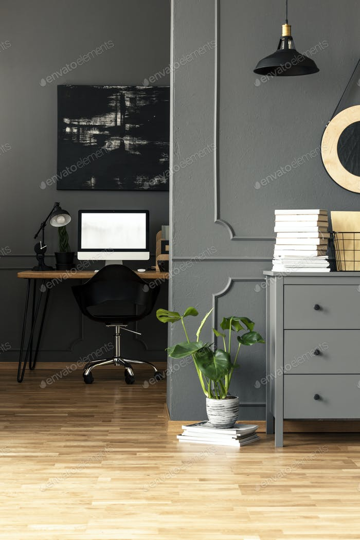 Plant next to grey cabinet in workspace interior with mockup of