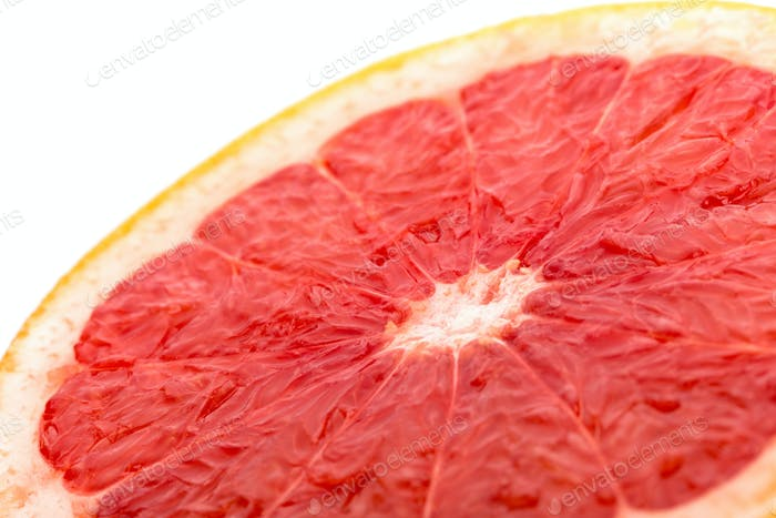 grapefruit slice  on white angle view