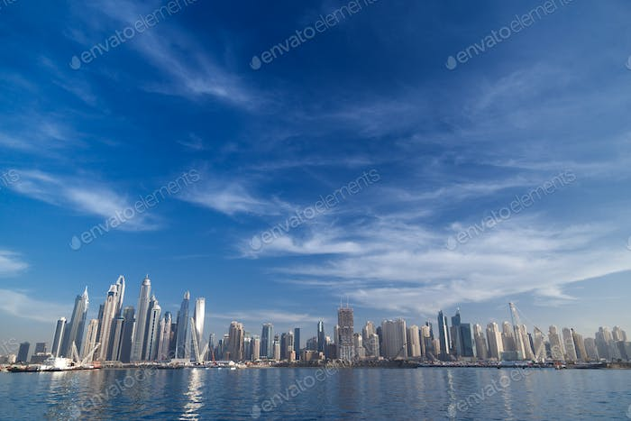 Dubai skyline. JBR Jumeirah beach residencies.