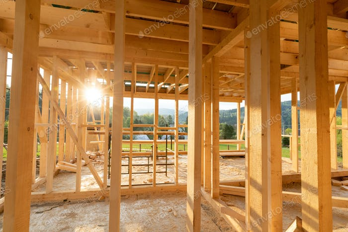 New interior residential wooden construction house framing