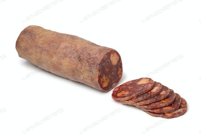 Traditional piece of Spanish chorizo sausage