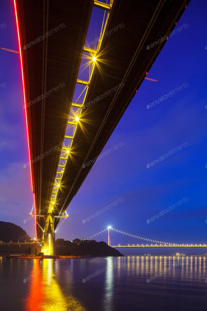 Bottom view of the suspension bridge