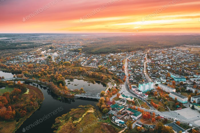 Dobrush, Gomel Region, Belarus. Aerial View Of Dobrush Cityscape Skyline In Autumn Evening
