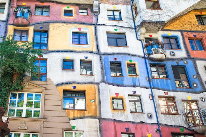 Hundertwasser house with a garden upstairs in Vienna, Austria