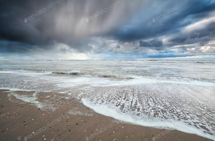 stormy sky over North sea coast