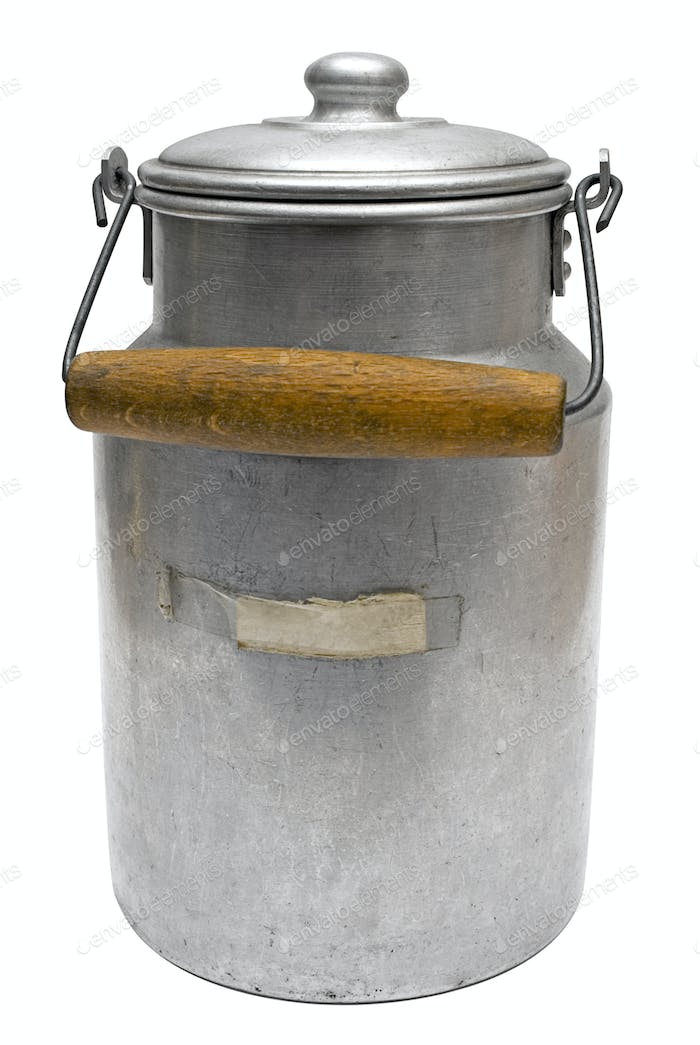 Vintage Milk Can with Clipping Path Isolated on a White Background