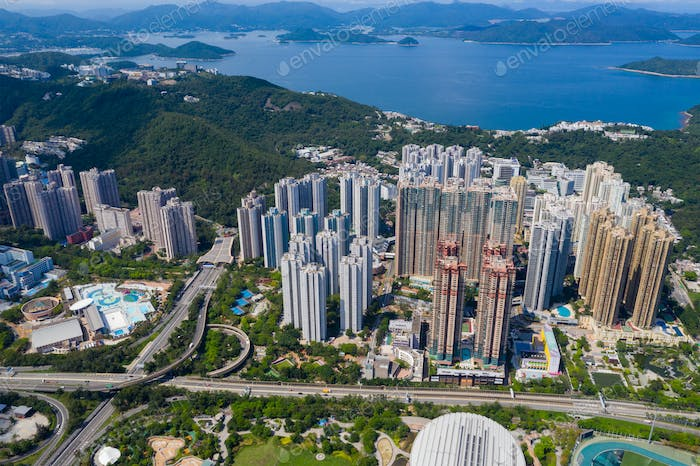 Tseung Kwan O, Hong Kong 13 June 2020: Top view of Hong Kong city