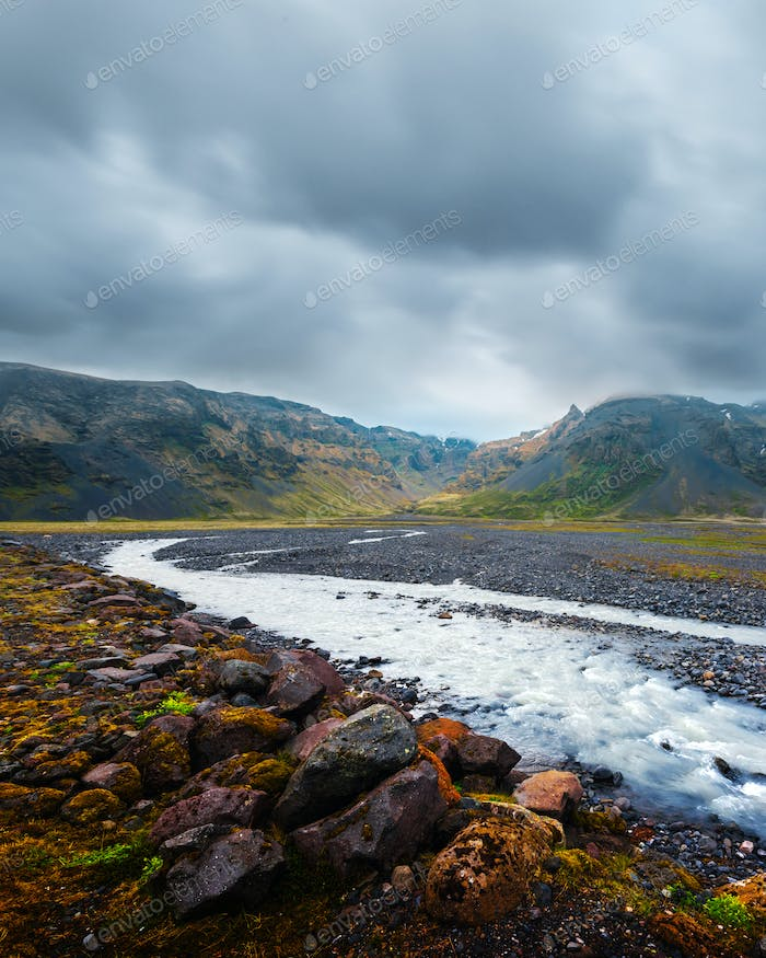 Typical Iceland landscape with river and mountains