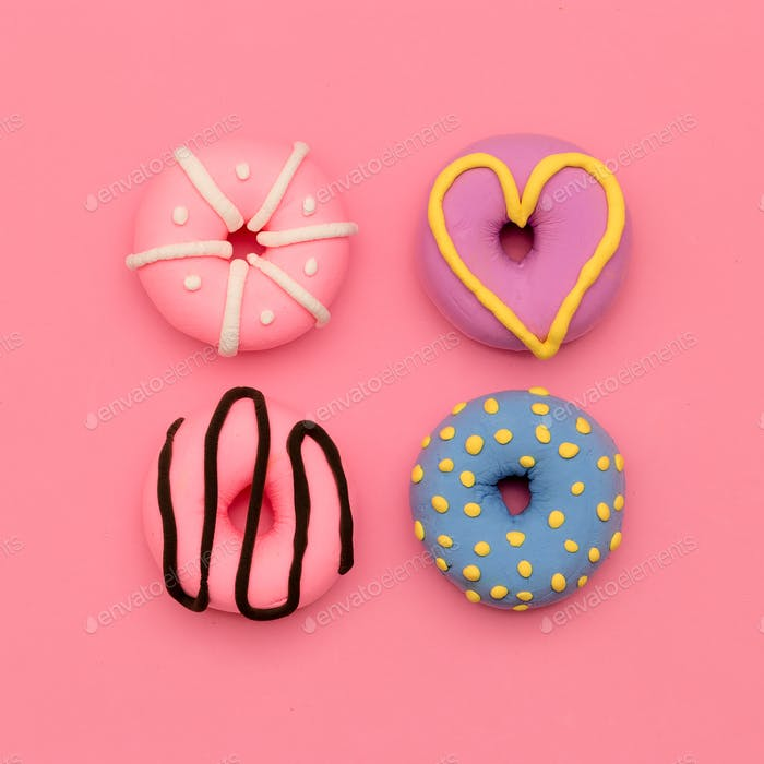 Donut Lover.  Sweet Candy Minimal Flatlay art.