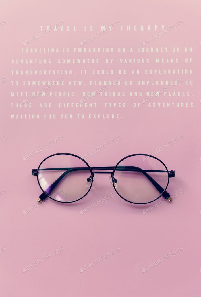 Hipster Eyeglasses Against a Pink Background