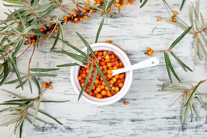 Natural, organic sea buckthorn berry in bowl