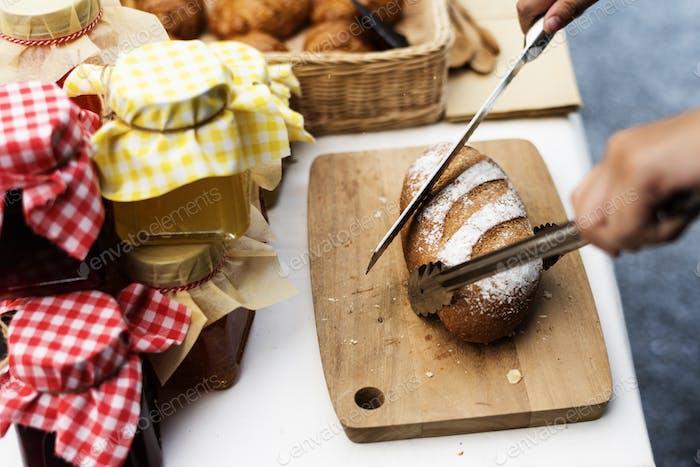 Pastelería panadería gourmet fresco de productos de horno