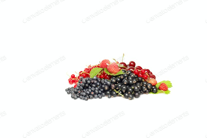 Ripe,tasty mixed berries on a white.