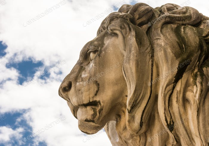 Historic stone lion sculpture