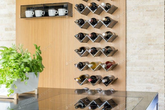 Kitchen with wine bottles