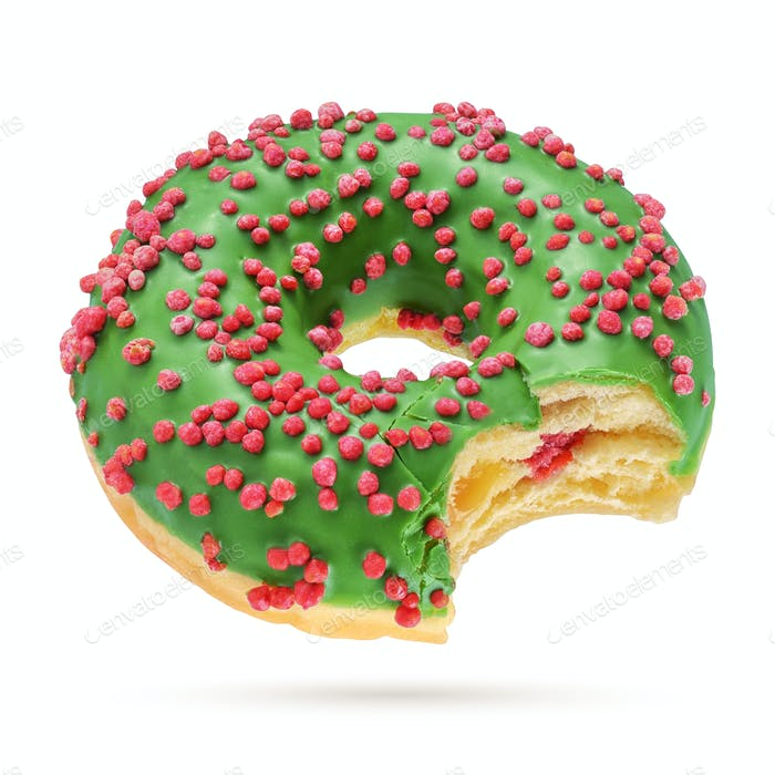 Christmas bitten donut isolated on white background