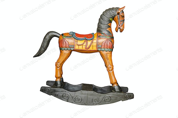 Vintage rocking horse isolated