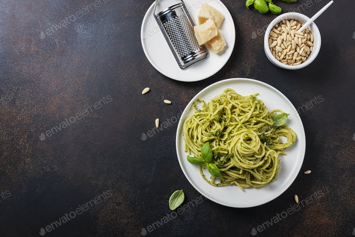 Traditional Italian spaghetti with basil