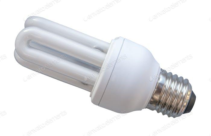 Eine energiesparende Glühbirne auf Weiß