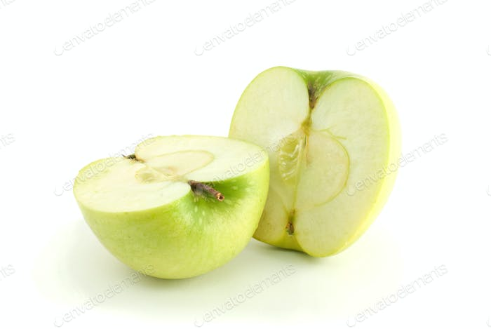 Two green apple halves