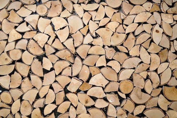 Abstrakte Foto von einem Haufen von natürlichen Holzstämmen Hintergrund