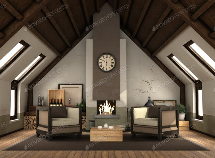 Rertro attic with fireplace with vintage furniture