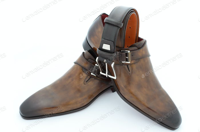 Luxury brown leather shoes and belt