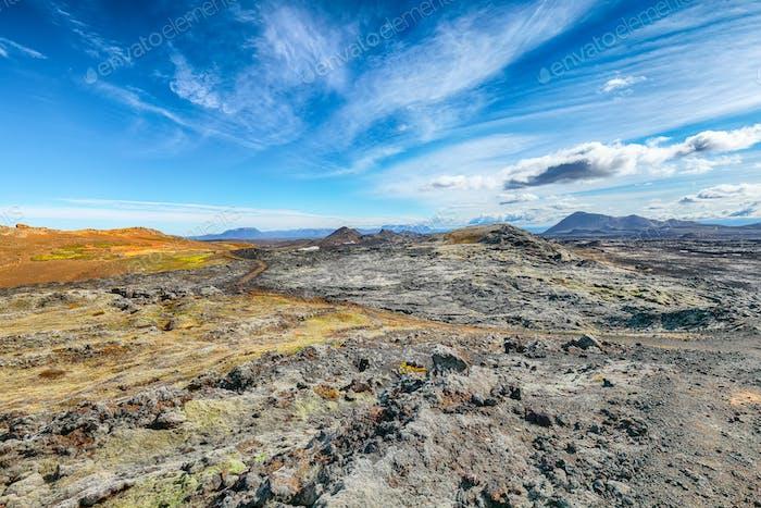 Exotic view of lavas field in the geothermal valley Leirhnjukur, near Krafla volcano