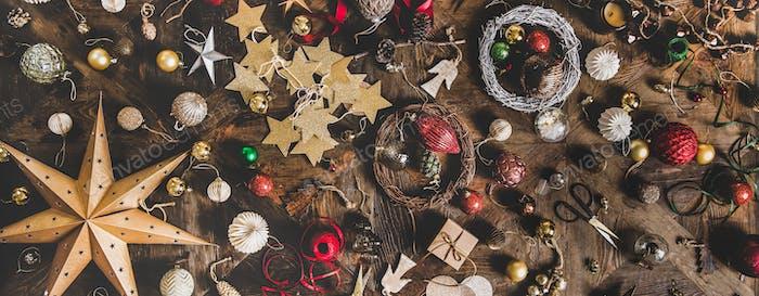 Weihnachten oder Neujahr Urlaub Dekoration Layout Hintergrund, breite Zusammensetzung