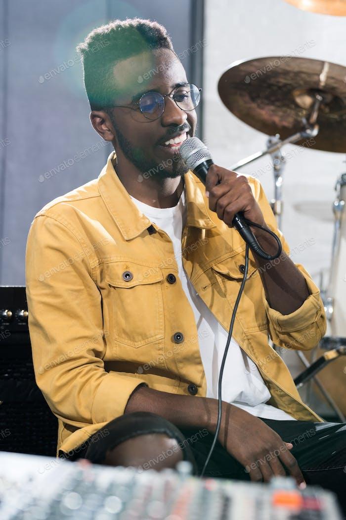African Singer in Recording Studio