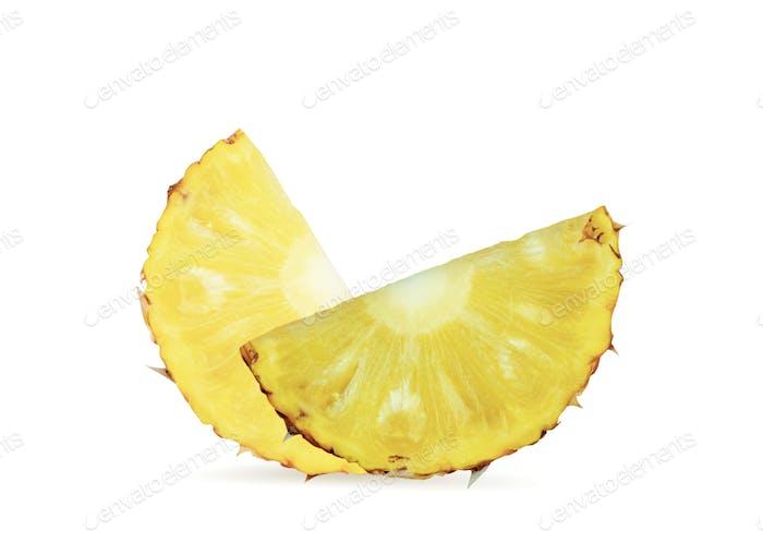 Pineapple sliced on white background