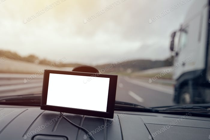 GPS car navigation with blank screen as copy space