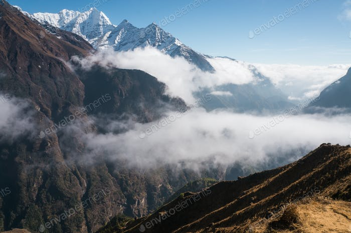 Scenic Landscape With Snowy Mountains With Clouds, Nepal, Sagarmatha Zone