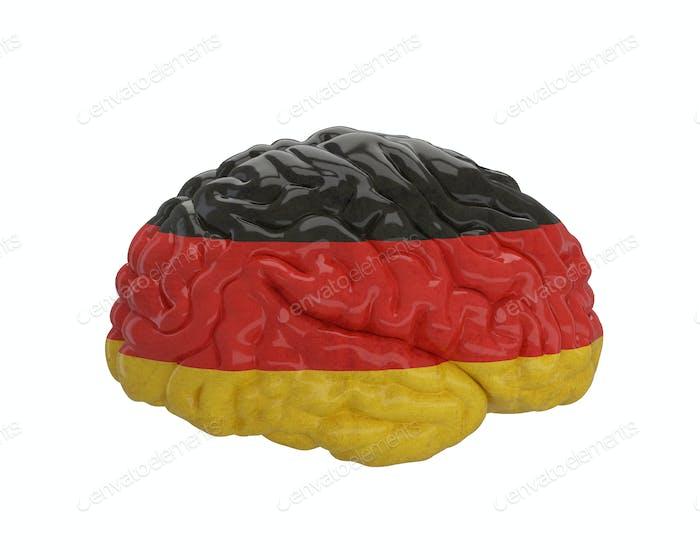 Germany. Flag on Human brain. 3D illustration.