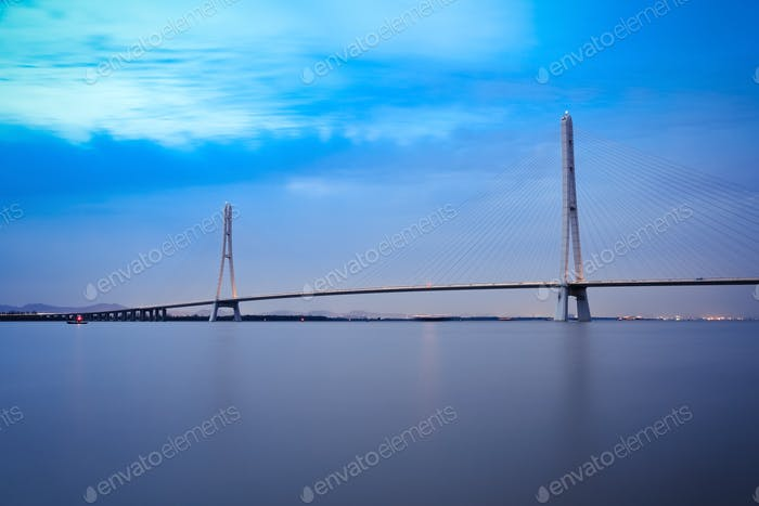 nanjing cable stayed bridge in evening
