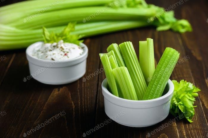 Celery sticks with sauce