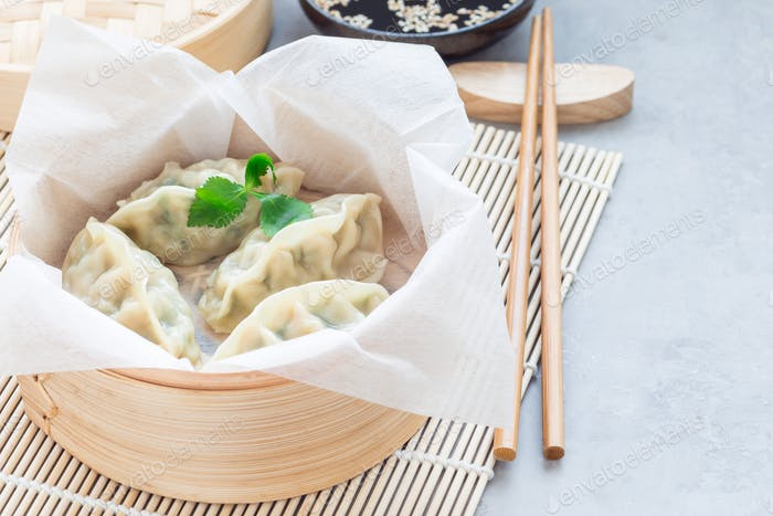 Steamed Korean dumplings Mandu with chicken meat and vegetables, horizontal, copy space